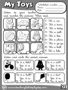 My Toys - Worksheet 5 (B&W version)