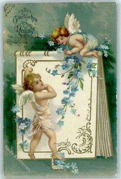 Ellen Clapsaddle - Two Little Angels Playing with a Notebook Valentines Art, Vintage Valentine Cards, Vintage Greeting Cards, Vintage Postcards, Victorian Crafts, Vintage Crafts, Vintage Art, Images Victoriennes, Angel Images