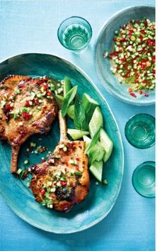 Bill Granger's Thai marinated pork chops with chilli dressing