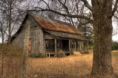Dog Trot House near Guy by Lisa Hyde. (This house is literally right down the road from my house. Old Cabins, Cabins And Cottages, Cabins In The Woods, Old Buildings, Abandoned Buildings, Abandoned Places, Old Farm Houses, Dog Houses, Dog Trot House