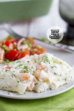 Shrimp and Grits Casserole - a southern staple served casserole style. On Taste and Tell