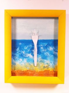 Fork You No. 2. #Upcycled #art from #plastic beach #litter. Museum quality shadowbox framing from recycled material.