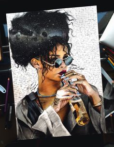 Rihanna Drawing. I just thought this looked cool <3