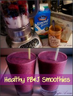 Peanut Butter and Jelly Smoothies and more healthy peanut butter smoothie recipes on MyNaturalFamily.com #smoothie #recipe