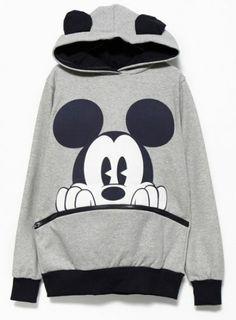 Sudadera con capucha Mickey manga larga-Gris y negro pictures