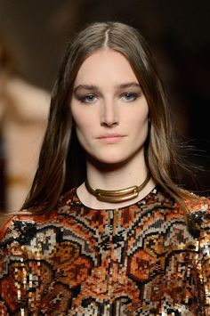 Bold, gold statement chokers keep showing up on the Fall 2015 #NYFW runways.
