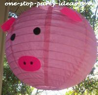 Pig barnyard birthday party lantern.  See more farm and birthday parties for kids on www.one-stop-party-ideas.com