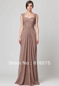 Chiffon Cap Sleeves Sheath Ruched Empire Waist Long Bridesmaids Dress 450036 $125.00