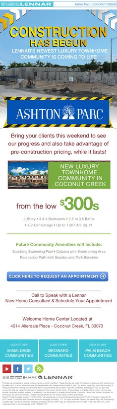 Ashton Park in Coconut Creek now under construction! New luxury townhomes from the low $300s. #CoconutCreek