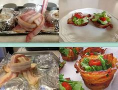 Breadless BLT - BACON CUPS ~  http://myfridgefood.com/recipes/snacks/breadless-blt-bacon-cups/