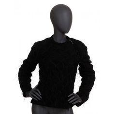 Yves Saint Laurent - czarna kurtka kożuch