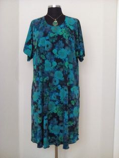 Oversize Teal floral dress - Maxi Swing dress - loose fitting dress in  Jersey Bamboo fabric - gift mom Size XXL 33d30768bae
