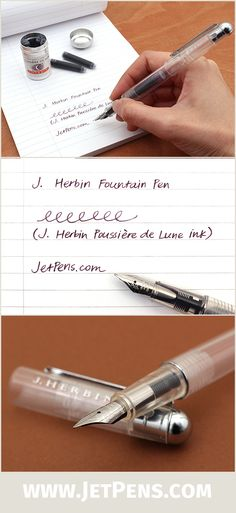 The transparent body of the J. Herbin Fountain Pen gives this pen a modern, minimalist look and allows easy monitoring of ink levels.
