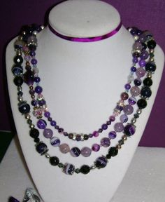 3 PURPLE Agate Necklaces.  FREE Bracelet to 1st by MyGrandmasHome