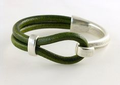 Moss Green European Licorice Leather Bracelet Cuff, Etsy.