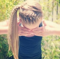 French braid w/ pony tail.