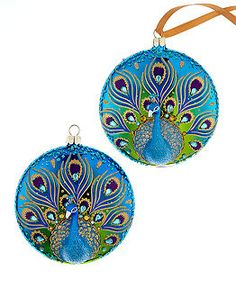 Holiday Lane Set of 2 Peacock Disk Ornaments - Holiday Lane - Macy's An elegant addition to your ornament collection, this hand-painted pair by Holiday Lane will add a bold pop of color to your tree. Peacock Christmas Tree, Peacock Ornaments, Painted Ornaments, Christmas Colors, Christmas Art, Christmas Themes, Christmas Holidays, Christmas Decorations, Christmas Balls