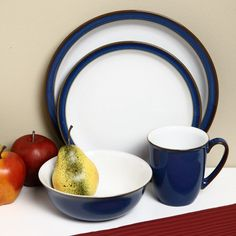 Imperial Blue Round Casual Ceramic Dinnerware Set 16 Piece Four Place Setting #Denby