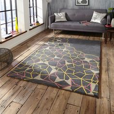 Sp37 Grey Yellow Pink Buero Rugs
