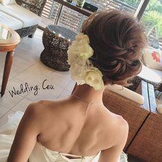 ヘアアレンジ Evening Hairstyles, Bride Hairstyles, Hairdo Wedding, Hair Arrange, Hair Setting, Creative Hairstyles, Bridal Hair And Makeup, Bridal Hair Accessories, Hair Inspiration