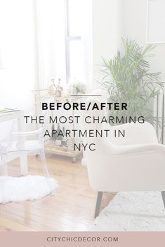 Before/After: The Most Charming Apartment in NYC - City Chic Decor Rental Home Decor, Rental Decorating, Renters Solutions, Studio Apartment Decorating, Apartment Goals, Studio Living, Small Living Rooms, Small Apartments, Interior Styling