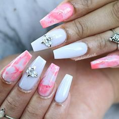 Coffin Nail Designs Pink Marble