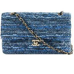 Chanel Quilted Tweed Double Flap Shoulder Handbag