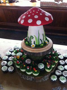 Toadstool cake, surrounded by cupcakes! Fondant Cakes, Cupcake Cakes, Toadstool Cake, Mushroom Cake, Fairy Birthday Party, Birthday Cake, Baby Girl Cakes, Garden Cakes, Fairy Cakes
