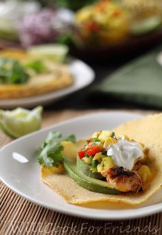 Fish tacos with pineapple mango salsa - healthy and bursting with flavor. tantalize your taste buds! Avocado Recipes, Healthy Recipes, Yummy Recipes, Recipies, Mango Pineapple Salsa, Grilled Fish Tacos, Tilapia Tacos, Dinner Entrees, Fish And Seafood