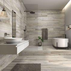 30 Quick and Easy Bathroom Decorating Ideas Washroom Tiles, Washroom Design, Bathroom Design Luxury, Modern Bathroom Design, Wood Look Tile Bathroom, Grey Slate Bathroom, Grey Bathroom Interior, Best Bathroom Designs, Modern Bathrooms