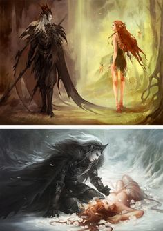 I originally thought these were personifications of winter and summer. However, I have been corrected, and now agree that it is more likely they are Hades and Persephone. Either way, or whatever the original intention, very pretty. :)