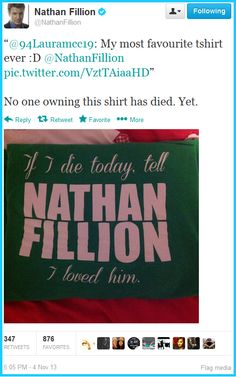 Nathan Fillion on his fan t-shirt.