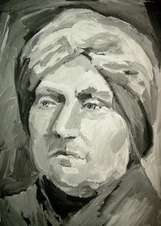 Acryl s/w - Porträt  Frau 1 - v. skonea