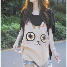 Fancy Batwing Sleeve Cat Printed  Causual T-Shirt