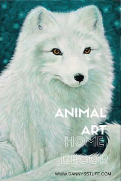 Stunning Arctic Fox in Starry night setting, blue and turquoise shades along with creams and hints of gold create a cool setting for this striking fox portrait. Prints available in Danny's Shop www.etsy.com/listing/271998236 #arcticfox #fox #animalart