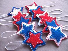 10 patriotic star ornaments red white blue star decorations 4th July independence day *** Read more  at the image link.
