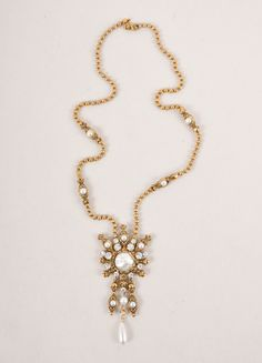 Gold Toned Textured Rhinestone and Pearl Style Pendant Necklace