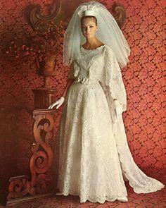 Peau d'ange lace wedding gown by Priscilla of Boston, from Brides, Autumn 1964 1960s Wedding Dresses, Wedding Dress Trends, Designer Wedding Dresses, Wedding Attire, Vintage Wedding Photos, Vintage Bridal, Vintage Weddings, Bridal Skirts, Bridal Gowns