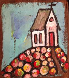 church on a hill painted on reclaimed wood. www.paintedpapers.net