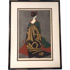 Original Japanese Color Woodblock Print, Signed Kiyoshi Saito (1907-1997), Girl…