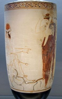 Hermes Psykhopompos sits on a rock, preparing to lead a dead soul to the Underworld. Attic white-ground lekythos, ca. 450 BC, Staatliche Antikensammlungen