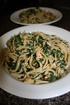 And Spinach Fettuccine With Salmon, Olive Oil, Whole Wheat Fettuccine ...