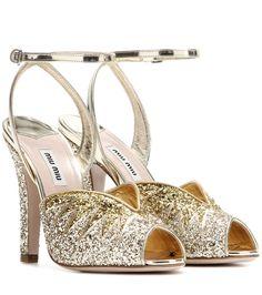 MIU MIU Glitter Sandals. #miumiu #shoes #sandals
