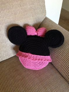 Minnie Mouse inspired crochet pillow on Etsy, $32.00: