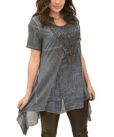 Look what I found on #zulily! Blue Appliqué Panel Sidetail Top by Simply Couture #zulilyfinds