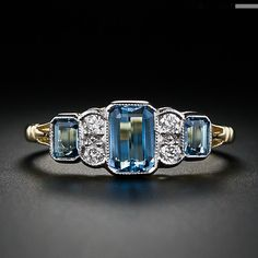 Antique Style Aquamarine and Diamond Ring.  Oh, yeah.