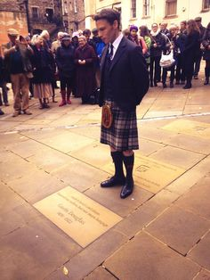 The Duke of Hamilton unveils a flagstone commemorating 15th century Scots writer Gavin Douglas at Makars' Court on 15 November 2013