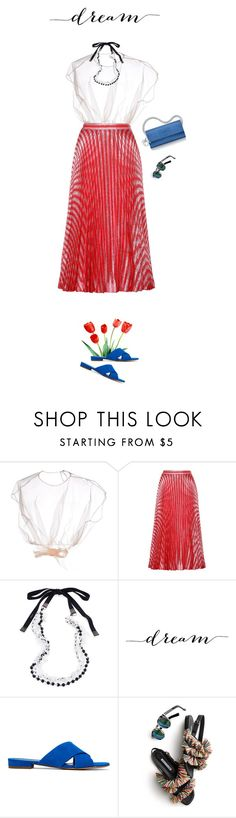 """""""Untitled #766"""" by modernmoda ❤ liked on Polyvore featuring MSGM, Gucci, MaxMara, Christian Dior, Mansur Gavriel and Illesteva"""
