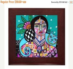 50% Off Today- Frida Kahlo Mexican Folk Art Ceramic Framed Tile by Heather Galler - Ready To Hang Tile Frame Gift
