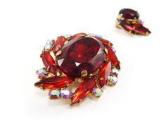 Vintage brooch  red gold AB rhinestone pin and by reconstitutions, $34.50